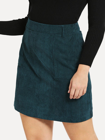 Plus Solid Cord Skirt | Amy's Cart Singapore