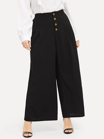 Plus Buttoned Front Pleated Detail Wide Leg Pants | Amy's Cart Singapore