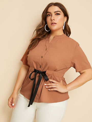 Plus Button Through Drawstring Waist Blouse | Amy's Cart Singapore