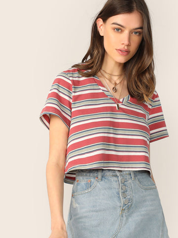 Striped V Neck Crop Tee | Amy's Cart Singapore