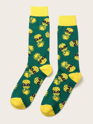 Men Pineapple Pattern Socks 1pair | Amy's Cart Singapore