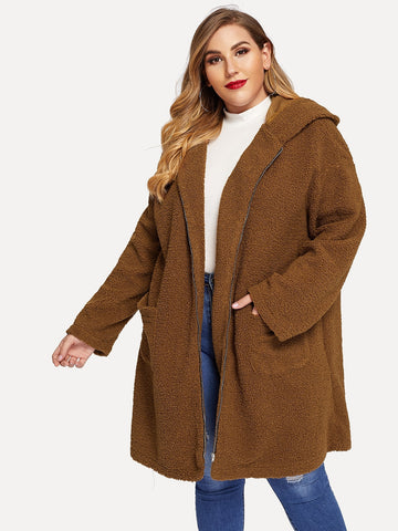 Plus Zip Up Pocket Hoodie Teddy Coat | Amy's Cart Singapore