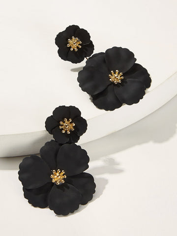 Double Flower Shaped Stud Earrings 1pair | Amy's Cart Singapore