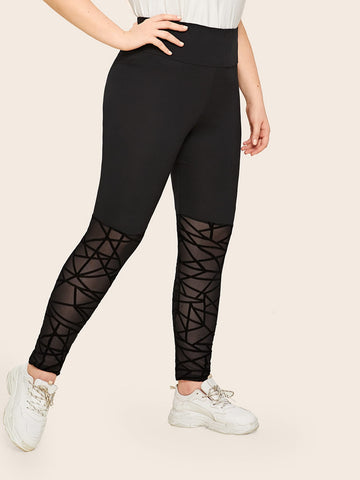 Plus High Waist Geo Mesh Insert Leggings | Amy's Cart Singapore