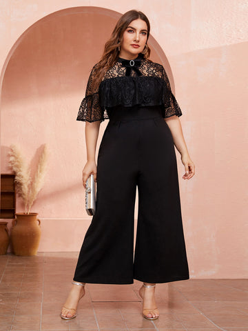 Plus Bow Detail Lace Yoke Wide Leg Jumpsuit | Amy's Cart Singapore