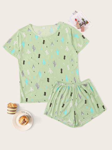 Cactus Print Pajama Set | Amy's Cart Singapore