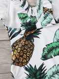 Toddler Girls Random Pineapple Print Ruffle One Piece Swim | Amy's Cart Singapore
