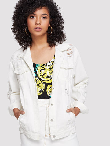 Ripped Solid Button Front Denim Jacket | Amy's Cart Singapore