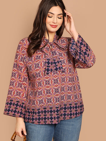 Plus Tie Neck Scarf Print Bell Sleeve Top | Amy's Cart Singapore