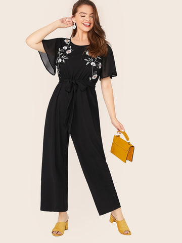 Plus Embroidery Front Self Belted Wide Leg Jumpsuit | Amy's Cart Singapore