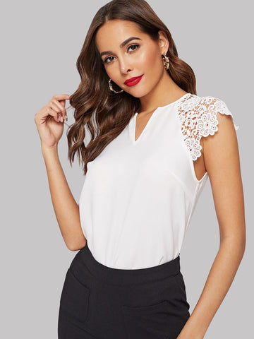 V Cut Neck Guipure Lace Raglan Sleeve Blouse | Amy's Cart Singapore
