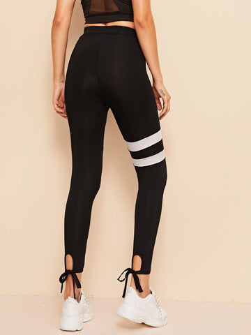 Knotted Hem Contrast Panel Leggings | Amy's Cart Singapore