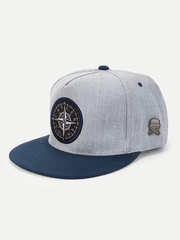 Men Patch Decor Flat Brim Cap | Amy's Cart Singapore