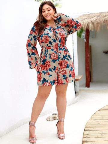 Plus Floral Print Knot Romper | Amy's Cart Singapore