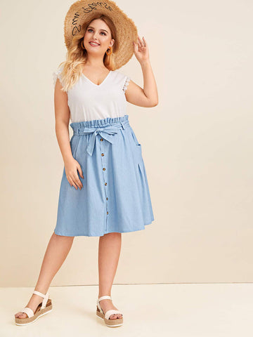 Plus Button Front Belted Denim Midi Skirt | Amy's Cart Singapore