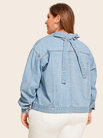 Plus Button Front Tie Back Denim Jacket | Amy's Cart Singapore