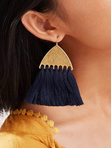 Triangle Design Tassel Drop Earrings 1pair | Amy's Cart Singapore