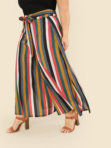 Plus Knot Front Wide Leg Striped Pants | Amy's Cart Singapore