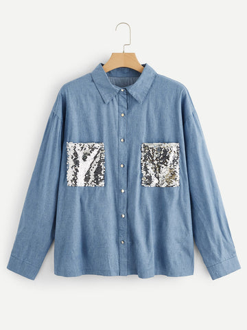 Plus Contrast Sequin Denim Blouse | Amy's Cart Singapore
