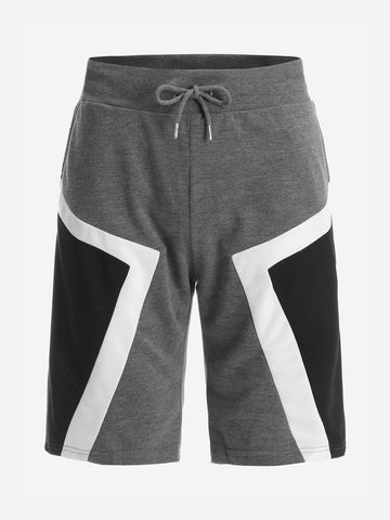 Men Drawstring Waist Contrast Panel Shorts | Amy's Cart Singapore