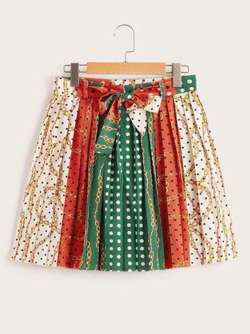 Scarf Print Pleated Belted Skirt | Amy's Cart Singapore