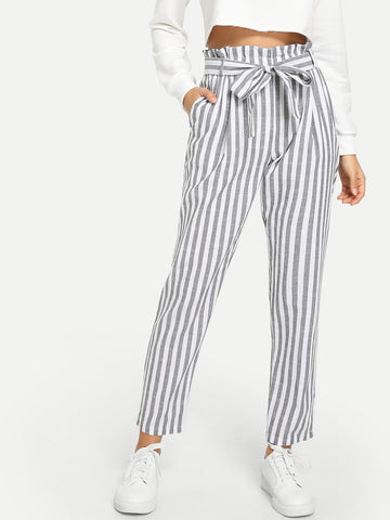 Vertical Striped Frill Belted Pants | Amy's Cart Singapore