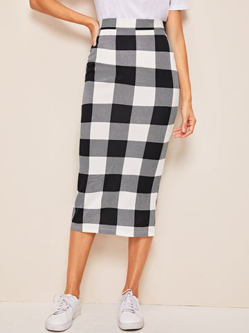 Slit Back Gingham Pencil Skirt | Amy's Cart Singapore