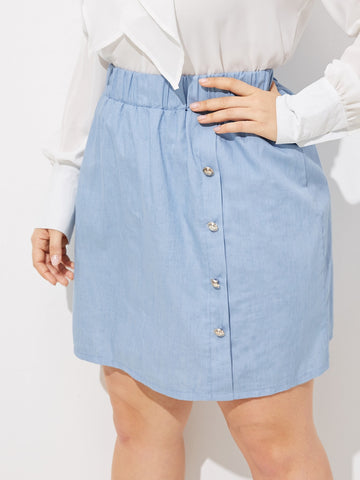 Plus Button Front Denim Skirt | Amy's Cart Singapore
