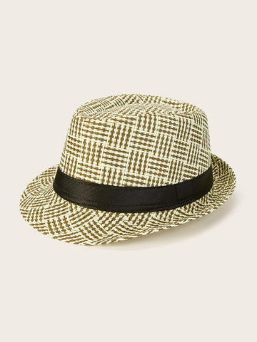 Men Plaid Woven Fedora | Amy's Cart Singapore