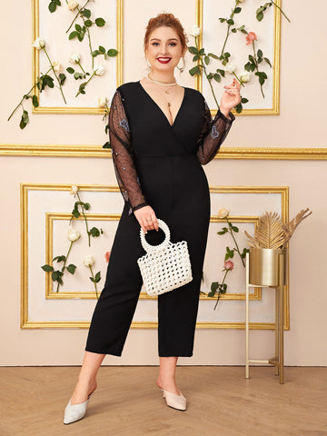 Plus Embroidery Mesh Sleeve Surplice Jumpsuit | Amy's Cart Singapore