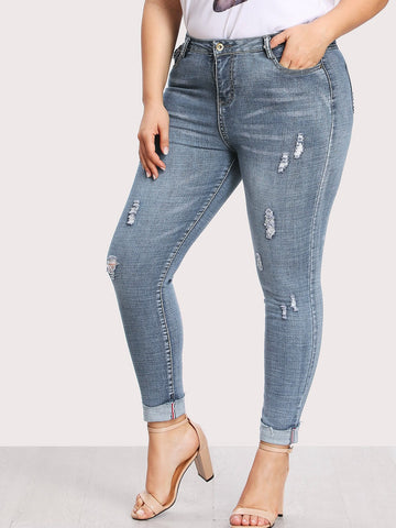 Plus Ripped Faded Wash Jeans | Amy's Cart Singapore