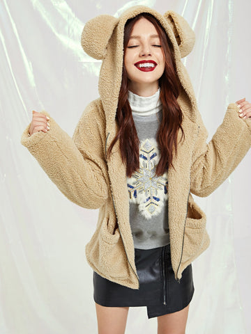 Zip Up Teddy Hoodie With Ear | Amy's Cart Singapore