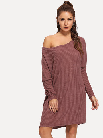 Leg-of-mutton Sleeve Solid Sweater Dress | Amy's Cart Singapore