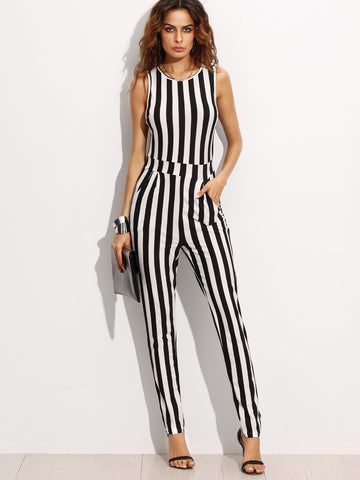 Contrast Vertical Stripe Sleeveless Keyhole Back Jumpsuit | Amy's Cart Singapore
