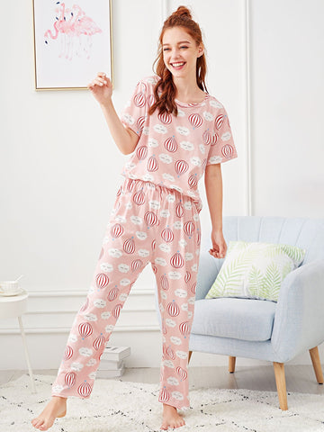 Hot Air Balloon Print Pajama Set | Amy's Cart Singapore