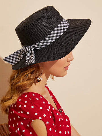 Bow Knot Detail Flat Top Fedora | Amy's Cart Singapore