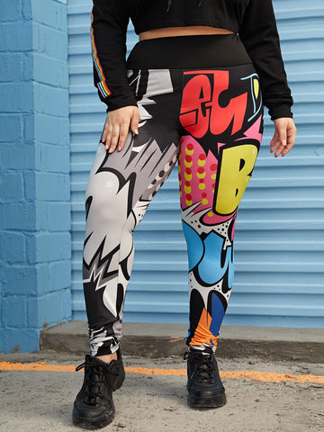 Plus Comic Print Leggings | Amy's Cart Singapore
