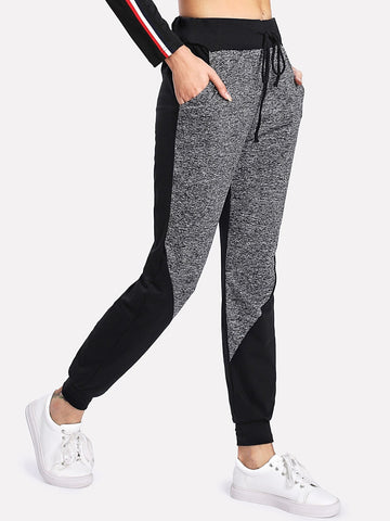 Marled Panel Drawstring Sweatpants | Amy's Cart Singapore