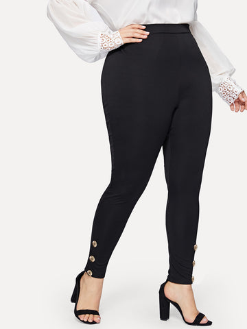 Plus Buttoned Detail Leggings | Amy's Cart Singapore