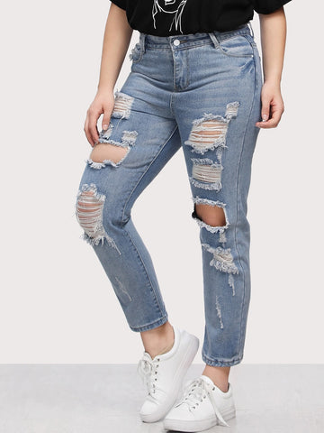 Plus Bleach Wash Extreme Distressing Jeans | Amy's Cart Singapore