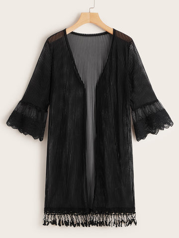 Mesh Lace Panel Fringe Hem Sheer Kimono | Amy's Cart Singapore
