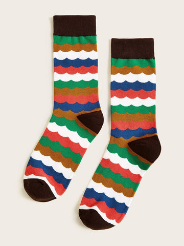 Men Color-block Socks 1pair | Amy's Cart Singapore