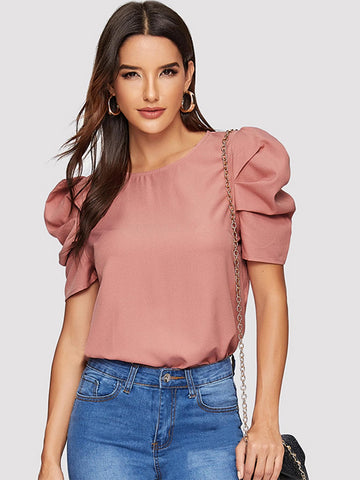 Button Keyhole Back Puff Sleeve Top | Amy's Cart Singapore