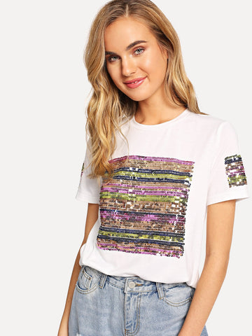 Contrast Sequin Solid Tee | Amy's Cart Singapore