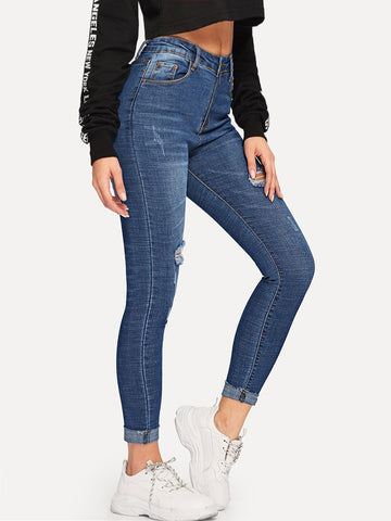 Roll Hem Ripped Skinny Ankle Jeans | Amy's Cart Singapore