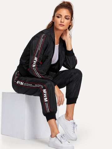 Letter Print Sleeve Jacket & Sweatpants Set | Amy's Cart Singapore