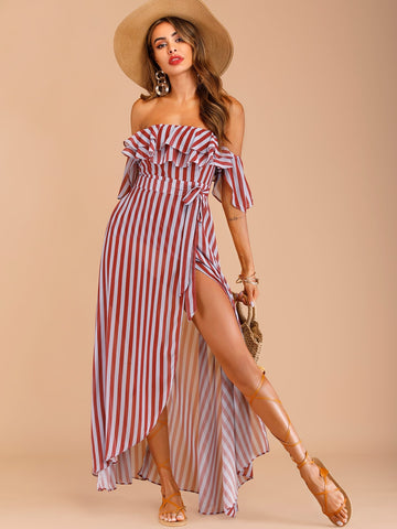 Striped Belted Layer Ruffle Off The Shoulder Dress | Amy's Cart Singapore