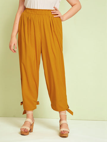Plus Knot Hem Frill Waist Pants | Amy's Cart Singapore