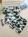 Toddler Boys Letter Patched Camo Tee With Shorts | Amy's Cart Singapore