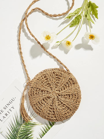 Tassel Detail Round Straw Crossbody Bag | Amy's Cart Singapore